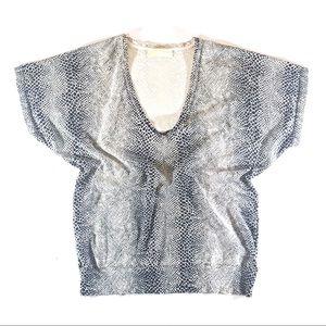 Michael Kors Cream & Black Snakeskin Silk Knit Top